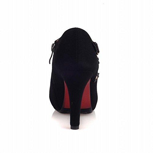 Schouder Dames Zip Applique Platform Sexy Hoge Hak Enkellaarzen Laarzen Zwart