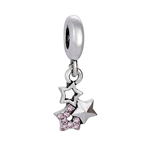 Bling Stars Stars Dangle Charm Bead with Pink Crystal for Snake Chain Bracelets