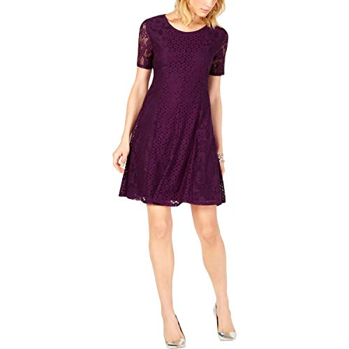 NY Collection Womens Petites Lace Above Knee Casual Dress Purple PM