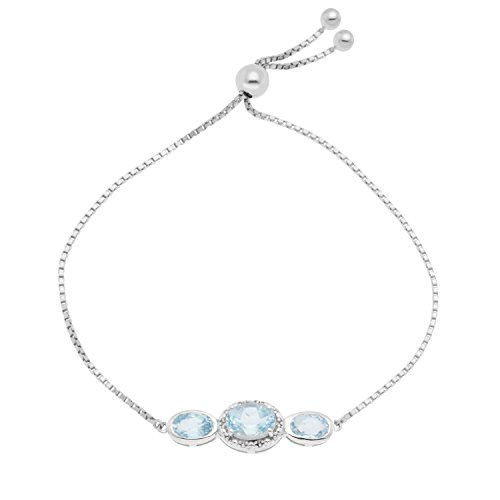 JewelExclusive Sterling Silver Diamond Accent 9.5in Genuine Round Blue Topaz Box Chain Adjustable Bracelet
