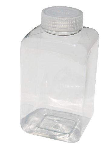 Vestil BTL-SW-32C Wide-Mouth Polyethylene Terephthalate (PET) Square Plastic Bottle with Natural Cap, 32 oz Capacity, Clear