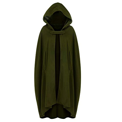 Halloween Cosplay Costumes Party Capes Unisex Christmas Day Hooded Cloak Medieval Cape (Army Green B, M)