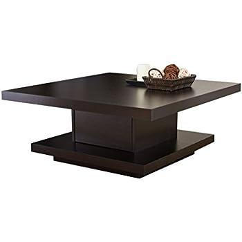 Amazon Com Haring Square Rotating Wood Coffee Table