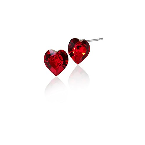 - Heart Shaped Swarovski Red Crystal various MM sizes Stud Earrings Great for Mothers Day (80mm_LS_0.30in)