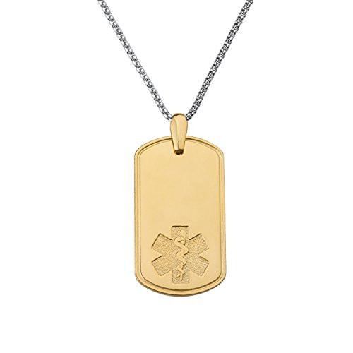 Divoti-Custom-Engraved-Deluxe-PVD-Plated-Pure-Titanium-Medical-Alert-Necklace-Dog-Tag-w24-Fancy-Box-Chain