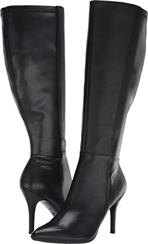 Nine West Women's Fallon Tall Dress Extra Wide Boot Black Leather 7 M US