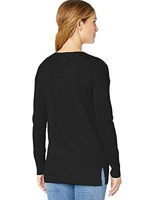 Amazon Essentials Women's V-Neck Tunic Sweater, Black, X-Large