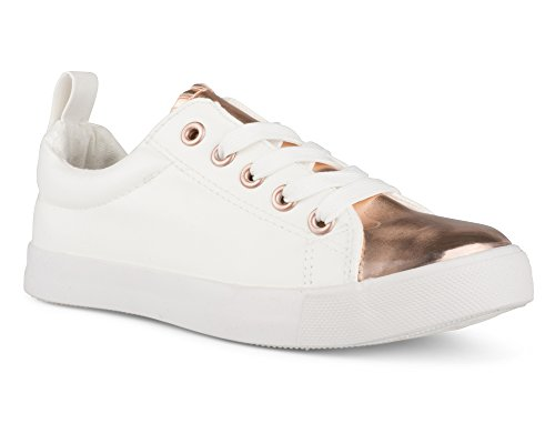 Twisted Girl's Faux Leather and Metallic Sneaker - KIXLO240AKWHITE, Size 3