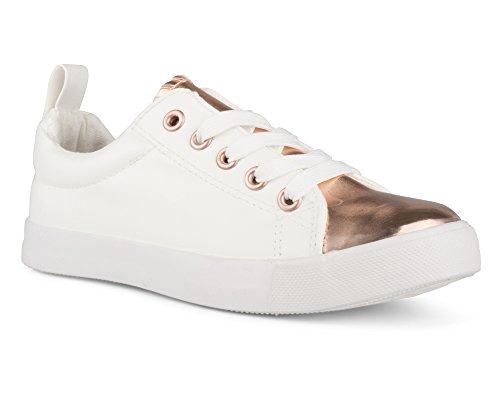 Twisted Girl's Faux Leather and Metallic Sneaker - KIXLO240AKWHITE, Size 3