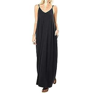 Krismile Womens Casual Strappy V Neck Sleeveless Dress with Pockets Loose Long Maxi Beach Sundress