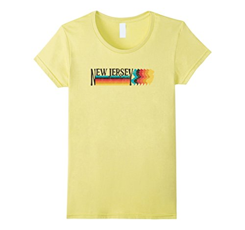 70s And 80s Style (Womens RETRO 70s 80s STYLE NEW JERSEY Rainbow Silhouette TShirt Medium Lemon)