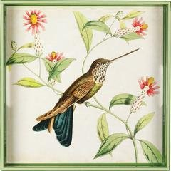 Laquer Tray - rockflowerpaper Hummingbird Green Pink 15 inch Square Decorative Lacquer Serving Tray