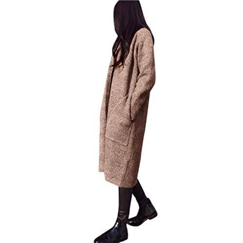 Simple Élégant Manteau One Khaki Longues Femme Mode Style Automne Tricot en  Confortable Outerwear Avant Casual ... 7a96881011b5