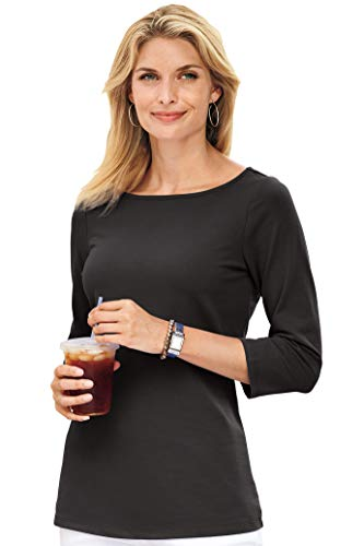 - 3/4 Sleeve Boatneck Essential Layering Tee by Real Comfort Black