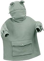 Summer Frog Hoodie for Women Short Sleeve Sweatshirt Zipper Mouth Loose Tunics Cute Tops with Pocket