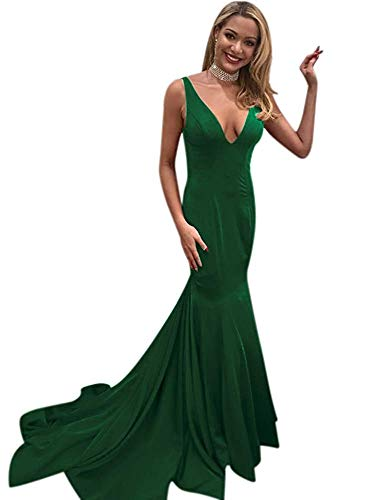 2001 Wedding Gown - Darcy74Dulles Women's Sexy Double V Neck Long Mermaid Evening Dresses 2019 Red Prom Dresses for Women