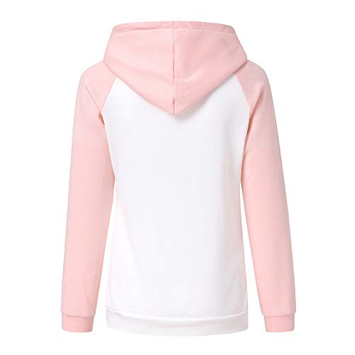 Femmes Patchwork Pull Tops Sweat pour Longues Manches Chic Femme Chemise Sweat Shirt Rose Sweat en Longues Longues Tops Manches Shirt Manches Shirt OS0BR