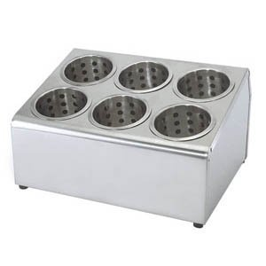 New Commercial 6 Hole Stainless Steel Cylinder Flatware Silverware Utensil Holder Organizer Caddy