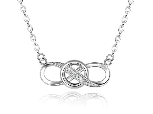 Infinity Knot Necklace - OneSight Knot Infinity Pendant Necklace for Women, 925 Sterling Silver Love Heart Necklace Jewelry Gold Plated