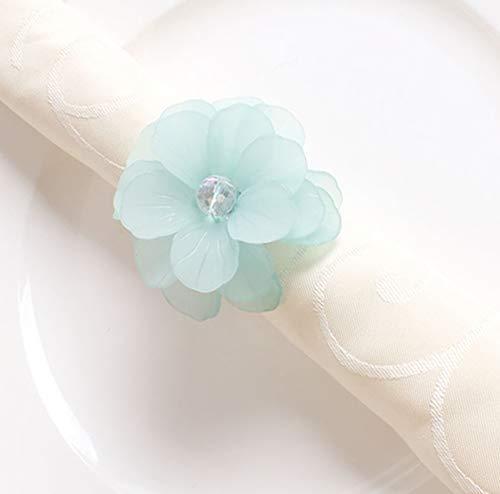 Fennco Styles Unique Translucent Petals Acrylic Flower Napkin Rings - Set of 4 (Aqua) ()