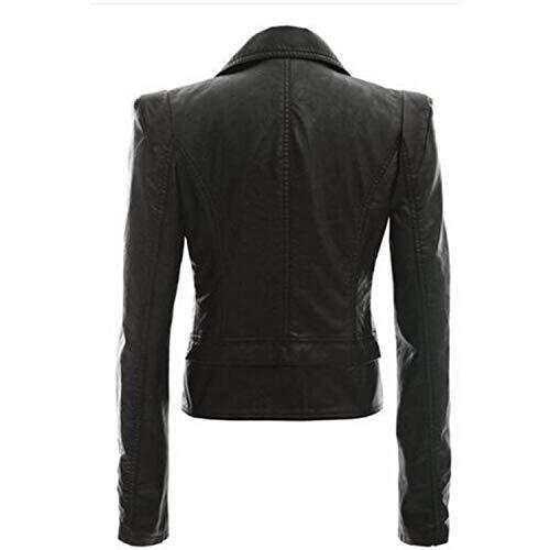 Availcx Cerniera Black Giacca Con Punk Cappotto A Inverno In Pu Collo Autunno Sottile Pelle Breve Bavero Gotica Donna BWxerCdo