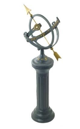BestNest Rome Sunburst Armillary Sundial and Roman Pedestal Cast Iron Armillary Sundial