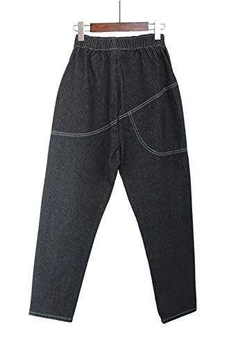 Fasumava Una Taglia Autunno Primavera Jeans Elasticizzati Le Donne Black FqOwUrSF