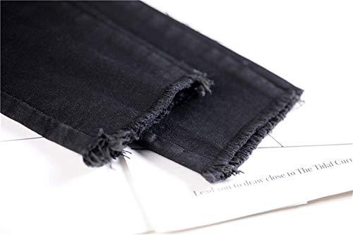 Casuales Aire Botones Acogedores Pantalones Pitillo De Color Sólido Las Alta Libre Con Mujeres Mezclilla Bastante Vaqueros Bolsillos Cintura Schwarz Al U7axwn6