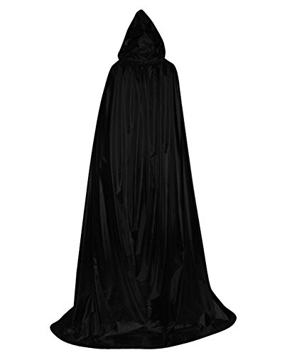 [Huafeiwude Halloween Costumes Azrael Devil Wizard Hooded Cloak Black] (Pirate Halloween Costumes Ideas)