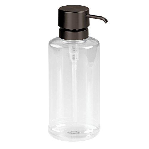 InterDesign Hamilton Dish Soap Or Mouthwash Dispenser Pump for Bathroom, Kitchen Countertops-Large, 34 Oz, Clear/Bronze, Bronze - Liquid Mouthwash