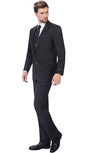 - P&L Men's 3-Piece Classic Fit Vest Suit Jacket & Expandable Waist Dress Pants Charcoal