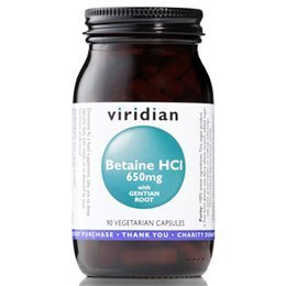 Viridian Betaine Hcl With Gentian Root 650Mg 90 Veg Caps
