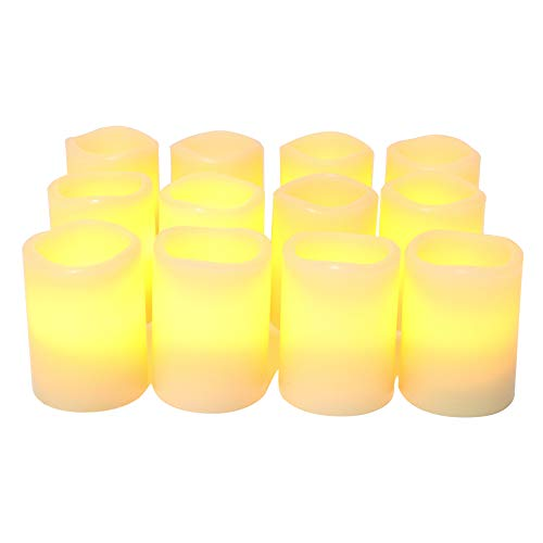 "iZAN Real Wax Flameless LED Votive Candles with Built-in Timer Battery Operated Flickering Electric Candle Set for Home Party Wedding Decoration Christmas Décor 1.5""x1.6"", 12 Pack, Batteries Included"