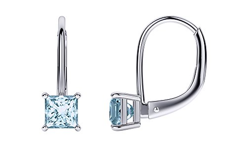 (Princess Cut Simulated Aquamarine Lever Back Drop Earrings in 14k White Gold Over Sterling Silver (3 cttw))