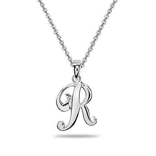 (Sterling Silver R Letter Initial Alphabet Name Personalized 925 Silver Pendant Necklace)