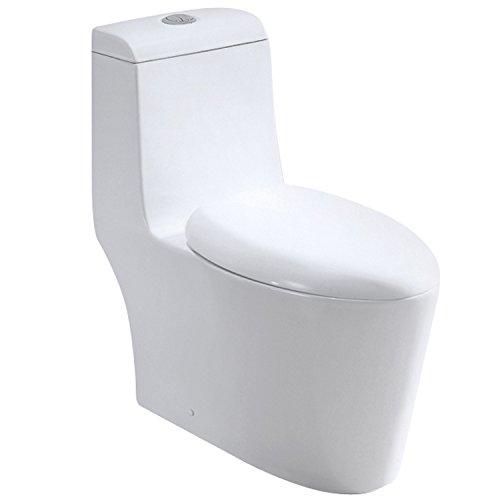 ARIEL Bath CO1042 Contemporary European Toilet - White - Dual Flush by Ariel Bath