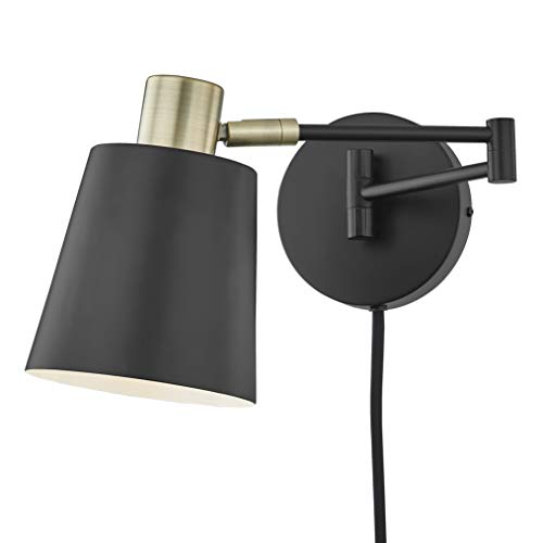 Light Society LS-W280-BK Alexi Plug-in Wall Sconce in Matte Black with Swivel Arm and Brass Details, Modern Contemporary Loft-Style Lighting