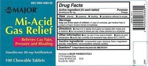 GAS RELIEF Bloating Pressure Simethicone 80 mg Generic Mylanta 36 ...