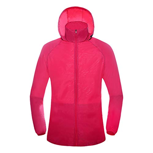 Pongfunsy Womens Mens Windproof Cycling Jackets with Hoodie Bike Reflective Rain Jacket Long Sleeve Bicycle Wind Coat Hot Pink ()