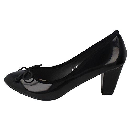 Ladies Spot On Low Heel Court Shoes With Bow Trim Black zSGnZ7eRM8