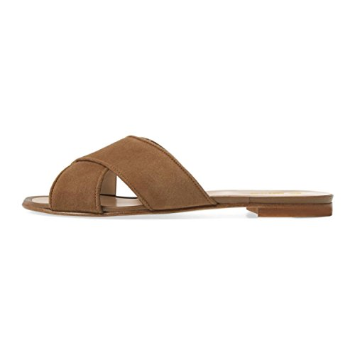 Shoes Suede Brown Women Toe US Mules Flats Heels Open FSJ Size Sandals 15 Casual Crisscross 4 Low Slide d7xwTqI