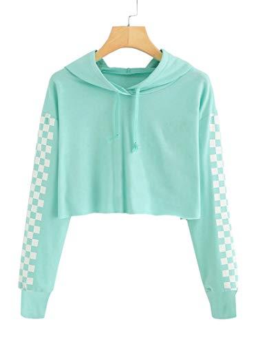 Imily Bela Kids Crop Tops Girls Hoodies Cute Plaid Long Sleeve Fashion Sweatshirts Green