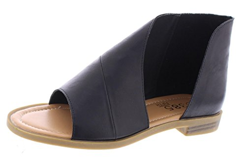 5th Black Leather (385 FIFTH Women's Faux Leather Half D'Orsay Open Toe Asymmetrical Wrap Flat Sandal Black 9 US)