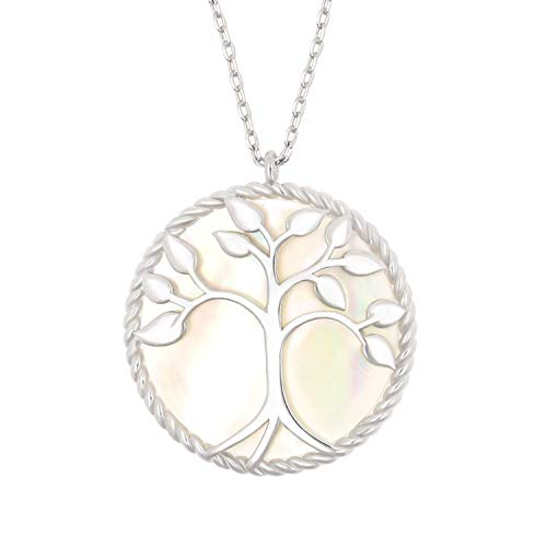 (KISSPAT Silver Tone Mother of Pearl Shell Tree of Life Round Pendant Necklace for Women Girls)