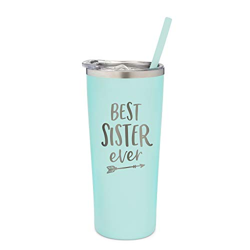SassyCups Best Sister Ever Tumbler | 22 Ounce Engraved Mint Stainless Steel Insulated Tumbler with Lid and Straw | Sister Bday Presents | For Sister Birthday | Sister Tumbler
