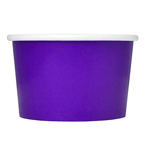 Purple Paper Ice Cream Cups - 6 oz Dessert Bowls - Comes In Many Colors & Sizes! Frozen Dessert Supplies - 100 Count