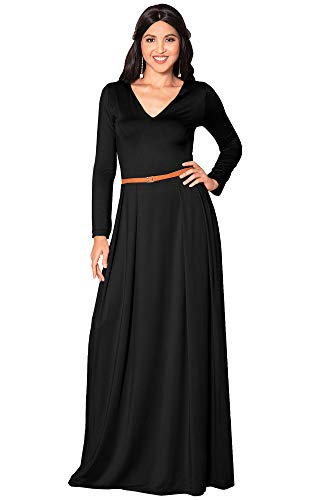 KOH KOH Womens Long Full Sleeve Sleeves V-Neck Formal Fall Evening Elegant Flowy Empire Waist Modest Vintage Abaya Muslim Gown Gowns Maxi Dress Dresses
