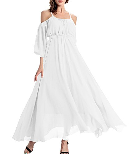 Afibi Women's Off-Shoulder Long Chiffon Casual Dress Maxi Evening Dress (XX-Large, White) ()