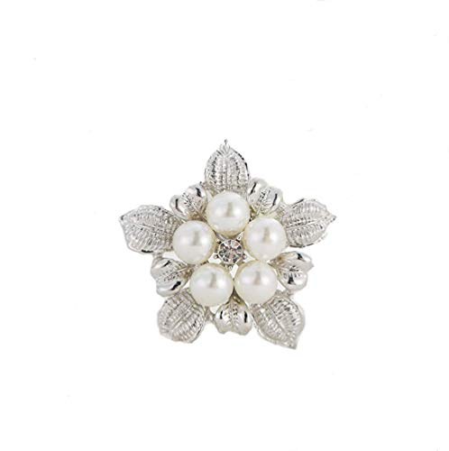 TULIP LY Shiny Crystal Brooch Simulated Pearl Elegant Flower Cluster Brooch Pin Fashion Jewelry Brooch Wedding Flower Brooch for Women Girl (Platinum Pearl Brooch)