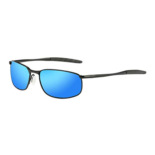 Polarized Sunglasses for Men, ZHILE 8-base Curve Wrap Metal Frame for Fishing Sporting Driving with Sunglasses Case (Black frame Blue mirrored lens, ()